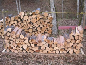Stacking Wood in the Firewood Rack